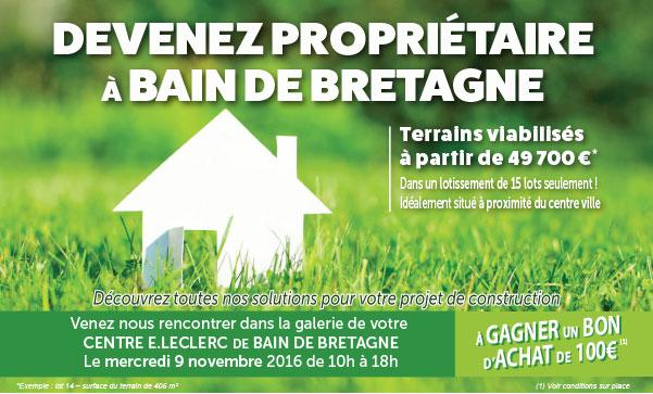 Bain de Bretagne offre terrains viabilisés