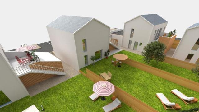 pose de la premi re pierre des maisons group es org res. Black Bedroom Furniture Sets. Home Design Ideas