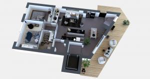 Appartement dernier étage en attique