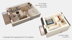 vue 3D d'un T3 duplex